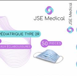 Pack masques chirurgicaux pédiatriques XS pour enfant et gel hydroalcoolique