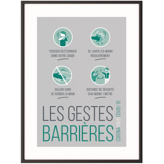"""Cadre + Affiche """"Les gestes Barrière"""""""